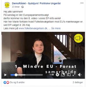 Under hele valgkampen har DemoRådet - Syddjurs' Politiske Ungeråd lagt videoer op, hvor de opsummerer de forskellige partiers mærkesager i forbindelse med EU. Her ses ledelsesmedlem Marie Madsen fortælle om Folkebevægelsen mod EU.